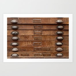 Wooden cabinet with drawers Art Print