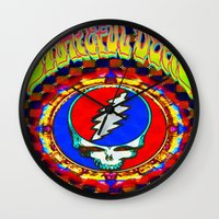 grateful dead Wall Clocks featuring Grateful Dead #8 Optical Illusion Psychedelic Design by CAP Artwork & Design