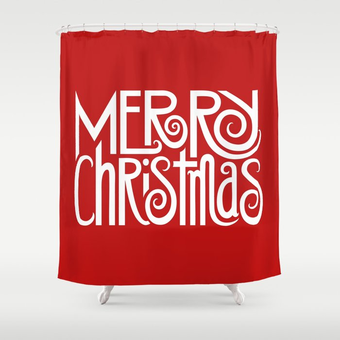 Merry Christmas Text White Shower Curtain
