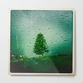 tree in rain Metal Print