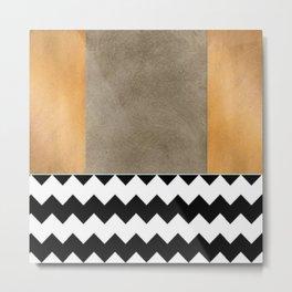 Shiny Copper Coffee Glaze And Black And White Chevron Pattern Metal Print