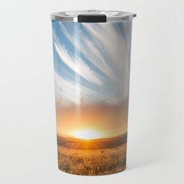 Grand Exit - Golden Sunset on the Oklahoma Prairie Travel Mug