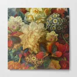 """Baroque Spring of Flowers and Butterflies"" Metal Print"