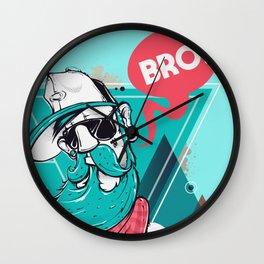 Hipster Bro! Cool Dude with Beard Wall Clock