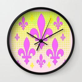 French Fleur-de-Lys in Pinks & Yellow Optical Art  Patterns Wall Clock