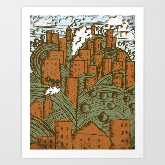 A CITY ON A HILL Art Print