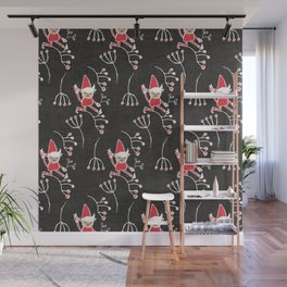 Santa Little Helper Charcoal  #Holiday #Christmas Wall Mural