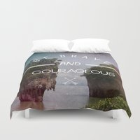 surfboard Duvet Covers featuring BE BRAVE by mark ashkenazi