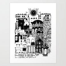Midnight in Barcelona b&w Art Print