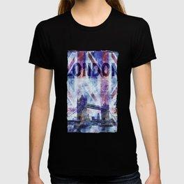 London Tower Bridge Mixed Media Art T-shirt