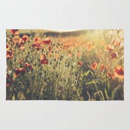 Wildflower Poppy Fields. Rug