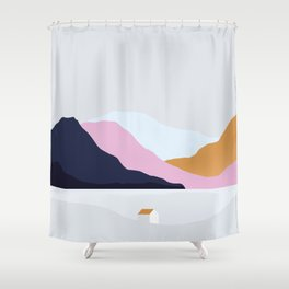 Blue, Pink and Gold Mountains Shower Curtain