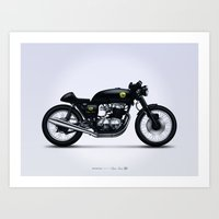 cafe racer Art Prints featuring Honda CB750 cafe racer by GarageProject101