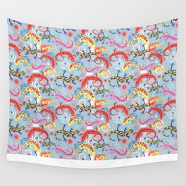 Vector graphic beautiful pattern of colored Salamander Wall Tapestry