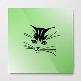 Green Cat Face Metal Print