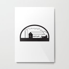 Farm Barn House Silo Black and White Metal Print
