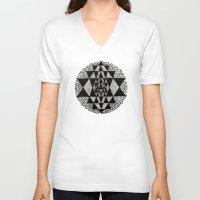 chakra V-neck T-shirts featuring Sri Chakra by BW DUGAN