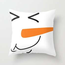 Funny Snowman Face With Carrot Throw Pillow