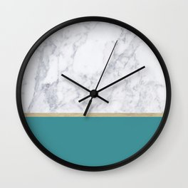 Teal Marble Gold Wall Clock