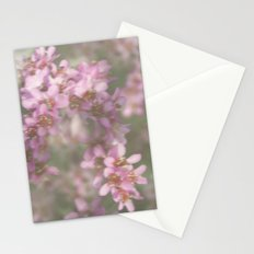 Abstract Pink and Green Flowers Stationery Cards