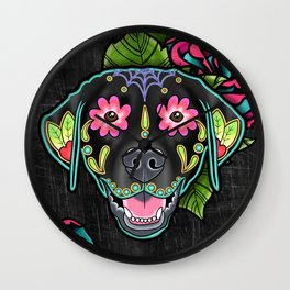 Labrador Retriever - Black Lab - Day of the Dead Sugar Skull Dog Wall Clock