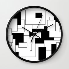 Squares - black and white. Wall Clock