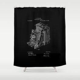 Vintage Camera Patent - White on Black Shower Curtain