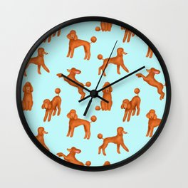 Red Poodles Pattern (Light Blue Background) Wall Clock
