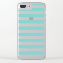 Horizontal Aqua Stripes Clear iPhone Case