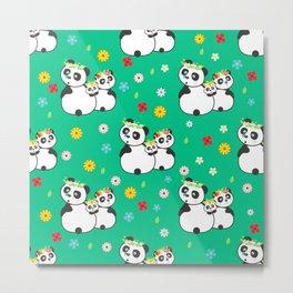 Panda family on meadow in wreaths Metal Print