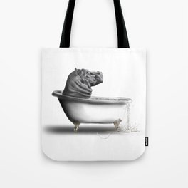 Hippo in Bath Tote Bag