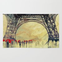 paris Area & Throw Rugs featuring Winter in Paris by takmaj