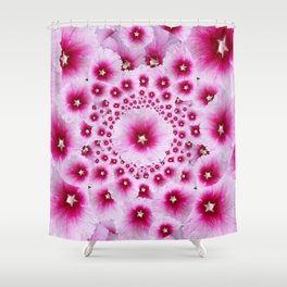 GEOMETRIC FUCHSIA-PINK HOLLYHOCK  PATTERNS Shower Curtain