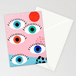 Noob - eyes memphis retro throwback 1980s 80s style neon art print pop art retro vintage minimal Stationery Cards