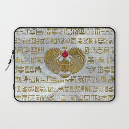 Egyptian Scarab Beetle Gold and Ruby Stone Laptop Sleeve