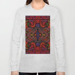 Art Nouveau Glowing Stained Glass Window Design Long Sleeve T-shirt