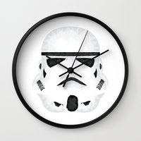 storm trooper Wall Clocks featuring Trooper by Charles Dew