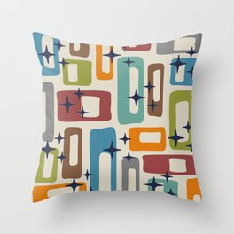 Retro Mid Century Modern Abstract Pattern 224 Throw Pillow