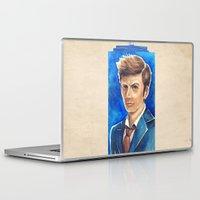 david tennant Laptop & iPad Skins featuring David Tennant 10th Doctor Who by Tiffany Willis