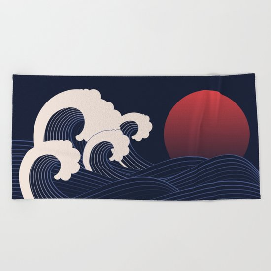 Japanese Sunset Beach Towel