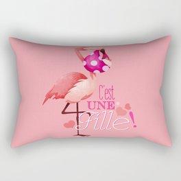 Flamingo birth announcement Rectangular Pillow