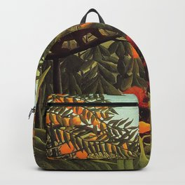 Apes in the Orange Grove by Henri Rousseau 1910 // Colorful Jungle Animal Landscape Scene Backpack