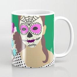 Sugar Skull Halloween Girls Green Coffee Mug