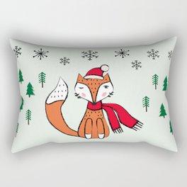 Cute little  Fox in a winter landscape Rectangular Pillow