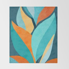 Abstract Tropical Foliage Throw Blanket