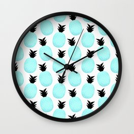 Turquoise Pineapples Wall Clock