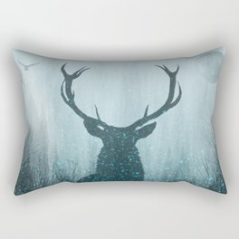 Snow Stag Silhouette Rectangular Pillow