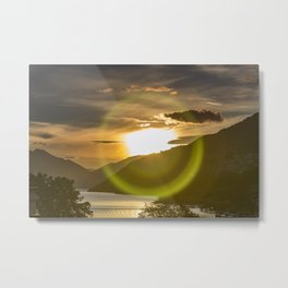 Golden Sunset on Queenstown and Lake Wakatipu Metal Print