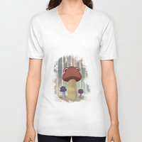 mushroom V-neck T-shirts featuring mushroom by Zuhal Arslan