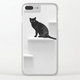 Black cat on steps Clear iPhone Case